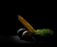 Au-dessus des fruits, de la banane, de l'avocat et du maracuja mûrs Photographie stock libre de droits