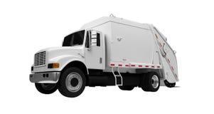 au-dessus du blanc de camion de détritus Image stock