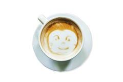 Au-dessus du café de latte sur le blanc d'isolat Photo libre de droits