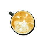 Au-dessus du café de latte sur le blanc d'isolement Photos stock