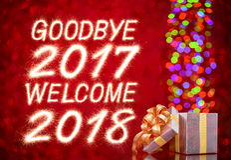 Au revoir 2017 accueil 2018 Photos stock