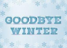 Au revoir inscription d'hiver dans le style 3d sur le fond bleu avec des flocons de neige Expression d'hiver avec l'effet des tex illustration stock