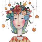 Au revoir princes d'hiver avec le houx, les oranges et les poinsettias illustration de vecteur