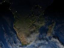 Au sud de l'Afrique la nuit sur terre de planète Photographie stock libre de droits