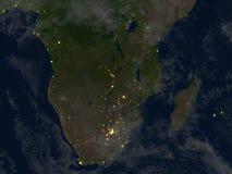 Au sud de l'Afrique la nuit sur terre de planète Photographie stock