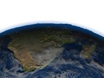 Au sud de l'Afrique la nuit sur terre de planète Photos stock
