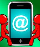 Au symbole au téléphone montre l'email d'À-signe illustration libre de droits