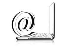 Au symbole avec l'ordinateur portatif Photo libre de droits