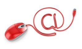 Au symbole avec le câble de souris d'ordinateur Images libres de droits