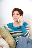 Au téléphone Image stock