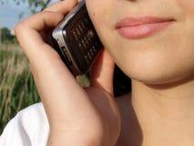 Au téléphone Images stock