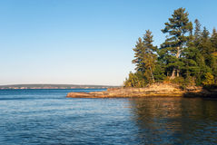 Au Train point and Grand Island, Lake Superior, Michigan, USA. The beautiful view at the Grand Island and Lake Superior from the Au Train point, Alger County stock photography