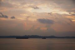 Aube à la promenade de point de Punggol, Singapour Photo libre de droits