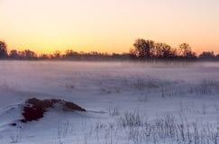 Aube au-dessus d'un champ de neige lilas images libres de droits