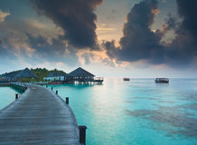 Aube au-dessus des Maldives image libre de droits