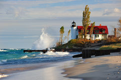 Aube au phare de Betsie de point, Michigan Etats-Unis Images libres de droits