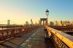 Aube au pont de Brooklyn Photographie stock