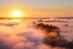 Aube brumeuse au-dessus de vallée et de la forêt Images stock