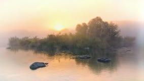 Aube brumeuse colorée au lac Photographie stock
