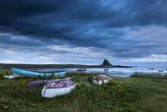 Aube, château de Lindisfarne, île sainte photo stock