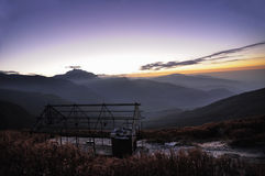 Aube chez Lungthang, Sikkim Images stock