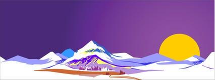 Aube dans les montagnes Photo stock