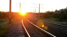 Aube de coucher du soleil de chemin de fer banque de vidéos