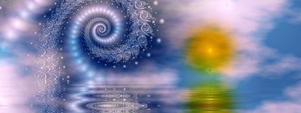 Aube de fractale, panoramique illustration de vecteur