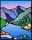 Aube de montagnes rocheuses au-dessus de la rivière illustration libre de droits