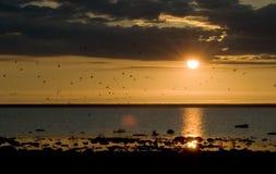 Aube de Sun sur le lac Kubenskoye Photographie stock libre de droits