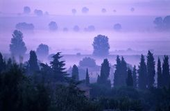 Aube en Toscane Photo stock