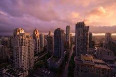 Aube rouge à Vancouver Photos stock