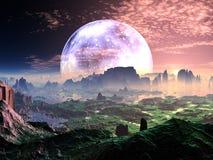 Aube sur idyllique Terre-comme la planète illustration libre de droits
