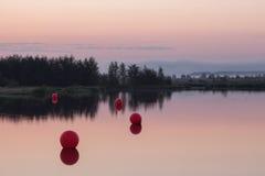 Aube sur le lac Photos libres de droits