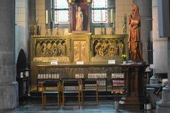 Aubel, België - Mei 2016 Binnenland van Abbey Church van val-Dieu Royalty-vrije Stock Foto