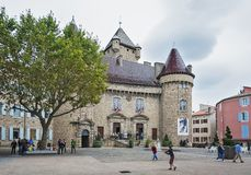 Chateau d`Aubenas, classed as a historic monument, now houses th. Aubenas, France, September 18, 2016: Chateau d`Aubenas, classed as a historic monument France stock photography