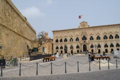 Auberge Castille i dziejowy Valletta centrum, Malta Obraz Stock