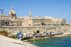 Auberge de Baviere or Palazzo Carniero in Valletta. Auberge de Baviere also known as Palazzo Carniero overlooking the English Curtain and the Jews& x27; Sally Stock Photos