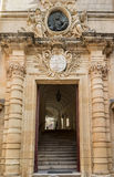 Auberge de Castille entrence. Valletta, Malta. Beautiful Auberge de Castille entrance way close-up. Valletta, Malta Royalty Free Stock Photography