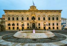 The Auberge de Castille,Valletta,Malta. Illuminated at evening Royalty Free Stock Images