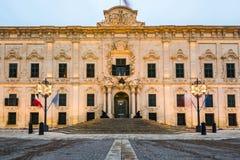 The Auberge de Castille,Valletta,Malta. Illuminated at evening Royalty Free Stock Image