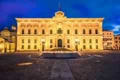 The Auberge de Castille,Valletta,Malta illuminated at evening.  Royalty Free Stock Photography