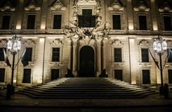 Spanish Baroque Building. The Auberge de Castille is an auberge in Valletta, Malta. It was originally built in the 1570s to house knights of the Order of Saint Royalty Free Stock Photo
