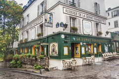 Auberge de la Bonne Franquette restaurant, Paris France. Auberge de la Bonne Franquette is housed in a building that is over 400 years old, and has always been Stock Photo
