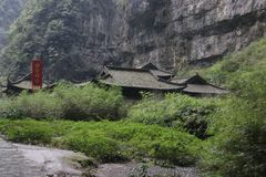 Auberge du ` s de Zhang Yi Mou dans Wulong Tiankeng trois ponts, Chongqing, Chine Photographie stock