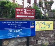 Direction sign to Refuge Orisson for Camino Pilgrims starting out in St Jean Pied de Port. royalty free stock photos