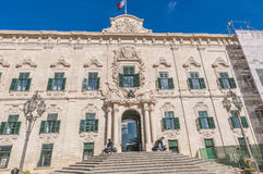 Aubergen de Castille i Valletta, Malta Arkivfoto