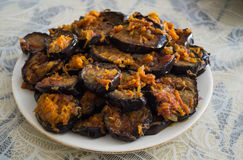 Aubergine зажаренный блюдом Стоковое Фото