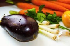 Aubergine, лук и морковь Стоковые Фотографии RF