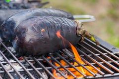Aubergine на гриле барбекю на горячих угле и огне Стоковые Изображения